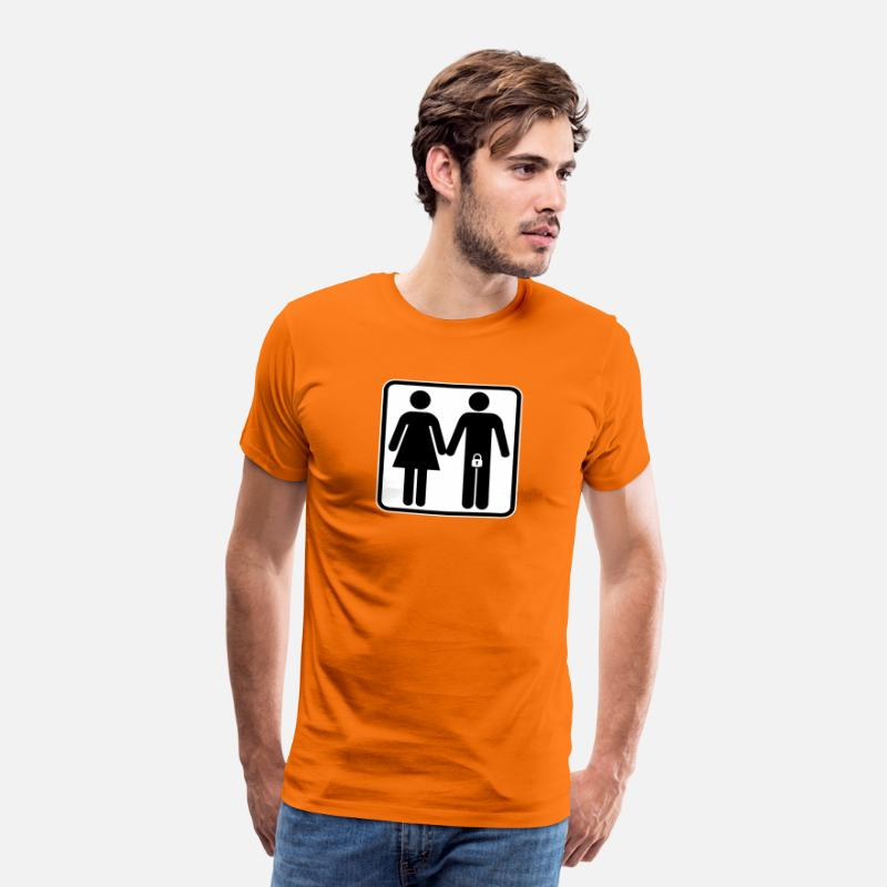 Submissive T-Shirts - Locked man with wife - Men's Premium T-Shirt orange