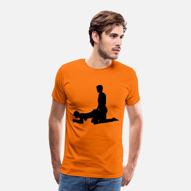 Sex T-shirts - sex position - T-shirt premium Homme orange