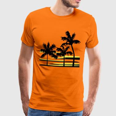 Palm Trees Surfer Caribbean Hawaii - Men's Premium T-Shirt