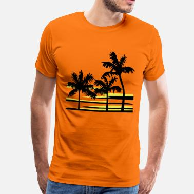 Surfer Palm Trees Surfer Caribbean Hawaii - Men's Premium T-Shirt