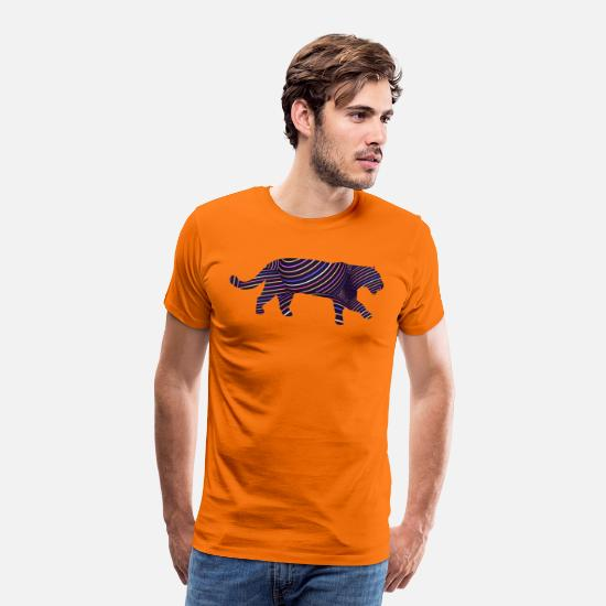 Jaguar T-Shirts - Jaguar in Stripes - Men's Premium T-Shirt orange