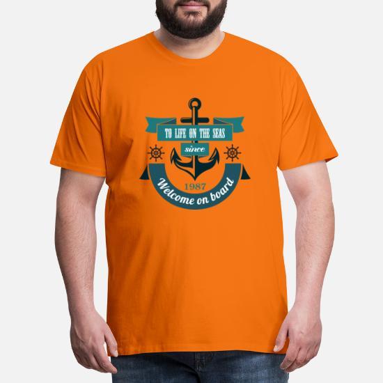 b800d356 Velkommen om bord på motor og marine 55 F Premium T-skjorte for menn ...