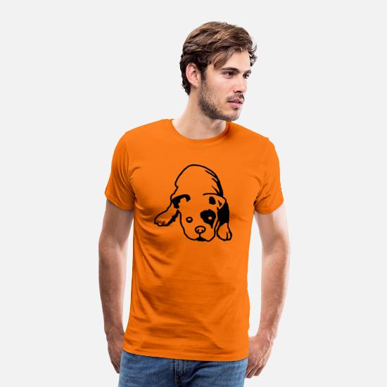 Welpe T-Shirts - Bulldog English - Männer Premium T-Shirt Orange