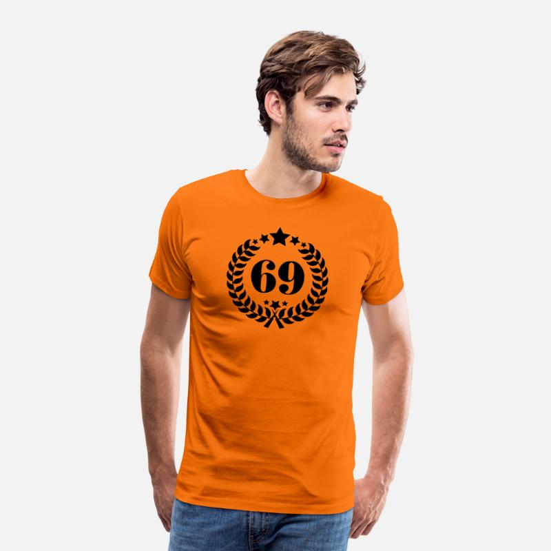 Birthday T-Shirts - 69th birthday wreath number 69 vintage age - Men's Premium T-Shirt orange