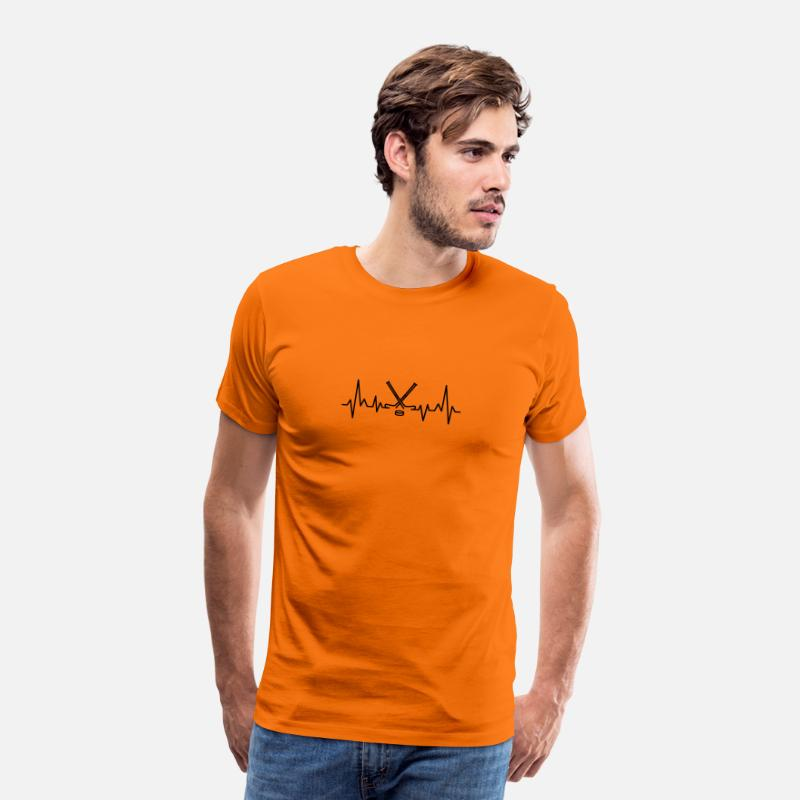 Winter Sports T-Shirts - Ice hockey heartbeat hockey stick - Men's Premium T-Shirt orange