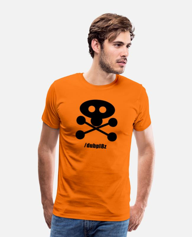Print T-Shirts - DUBPL8Z logo design REVERSE with social tag - Men's Premium T-Shirt orange