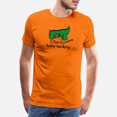 T-Rex hates hockey field hockey player dinosaur - Men's Premium T-Shirt