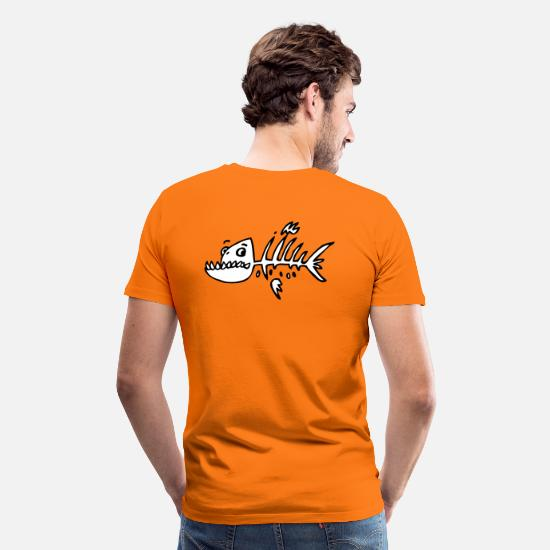 Fisk T-shirts - skelettfisch - Premium T-shirt herr orange