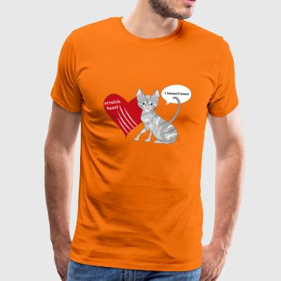 Cat with scratched heart - Men's Premium T-Shirt