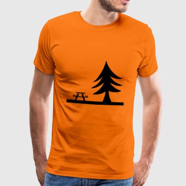 Picknick bänk Tree present Nature Leisure - Premium-T-shirt herr