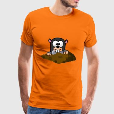 Cartoon Maulwurf Design - Männer Premium T-Shirt