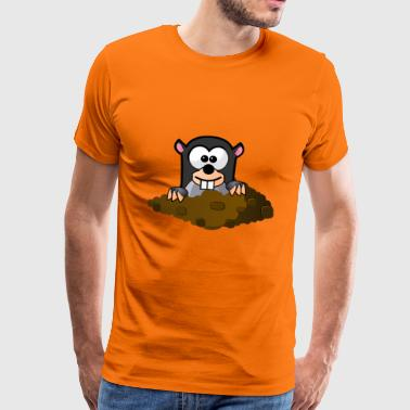 Mole looks out of the hole - Men's Premium T-Shirt