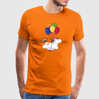 Flying rainbow cartoon unicorn balloons - Men's Premium T-Shirt