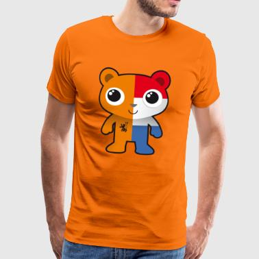 Bear Oranje and Holland flag fan football - Men's Premium T-Shirt