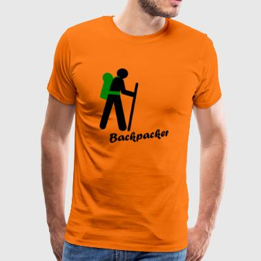 Backpacker, traveling with backpack - Men's Premium T-Shirt