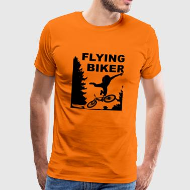 Departing Biker MTB bike forest departure fall - Men's Premium T-Shirt