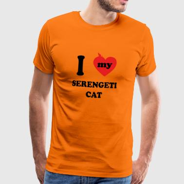 i love cats Fat Cat SERENGETI - Maglietta Premium da uomo
