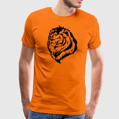 Lion head proudly raised with mane - Men's Premium T-Shirt