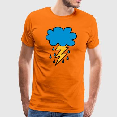 Cloud flash raindrop weather spring rain cloud - Men's Premium T-Shirt