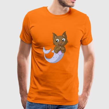 Leuke cartoon cat haai - Mannen Premium T-shirt