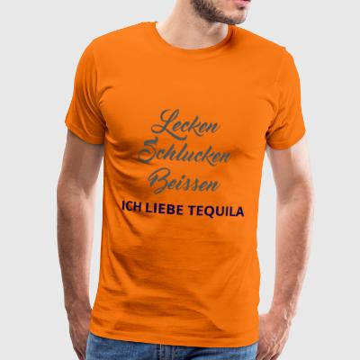 swallow, lick, bite. I love Tequila! - Men's Premium T-Shirt
