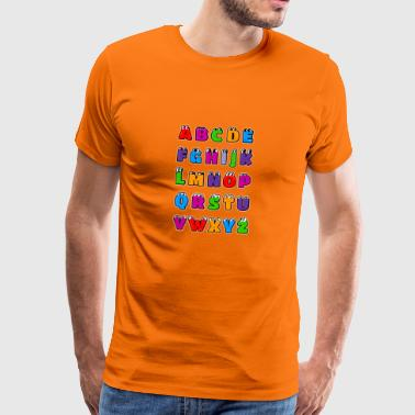 Alphabet letters Kawaii ABC for children. Drawings - Men's Premium T-Shirt