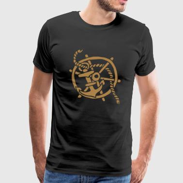 Anker Seemann Anchor Sailor Tattoo Oldschool SOS - Camiseta premium hombre