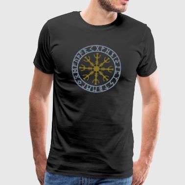 Premium-T-shirt herr - Aegishjalmur ægishjálmr Aegishjálmr,celts germanic teutonic,hex god warrior,icelandic asatru wicca,invincibility rune runic,kompass paganism gothic,magic magical occult,new age,nordic wichcraft sorcery,sign power norse,thor odin celtic