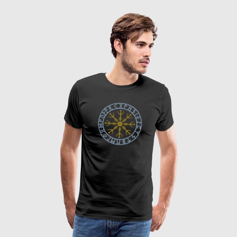 Miesten premium t-paita - Aegishjalmur ægishjálmr Aegishjálmr,celts germanic teutonic,hex god warrior,icelandic asatru wicca,invincibility rune runic,kompass paganism gothic,magic magical occult,new age,nordic wichcraft sorcery,sign power norse,thor odin celtic