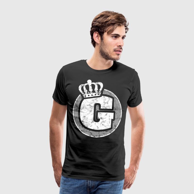 Stylish letter G with crown - Men's Premium T-Shirt