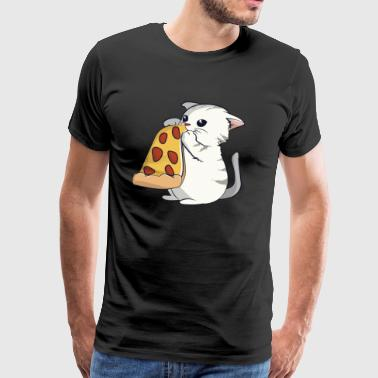 Chat mange une pizza - T-shirt Premium Homme