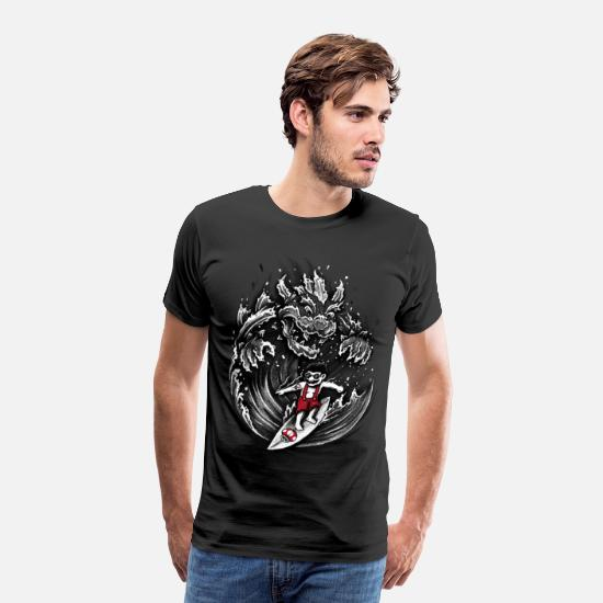 Mario T-Shirts - Surfing Mario - Men's Premium T-Shirt black