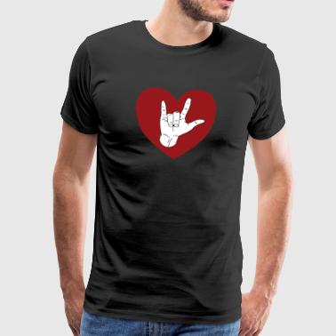 Gebaar ASL I Love You - Heart Gift-shirt - Mannen Premium T-shirt