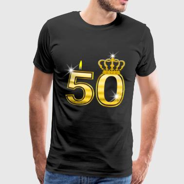 50 - Birthday - Queen - Gold - Flame & Crown - Camiseta premium hombre