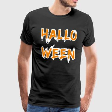 Halloween Text orange weiss - Männer Premium T-Shirt