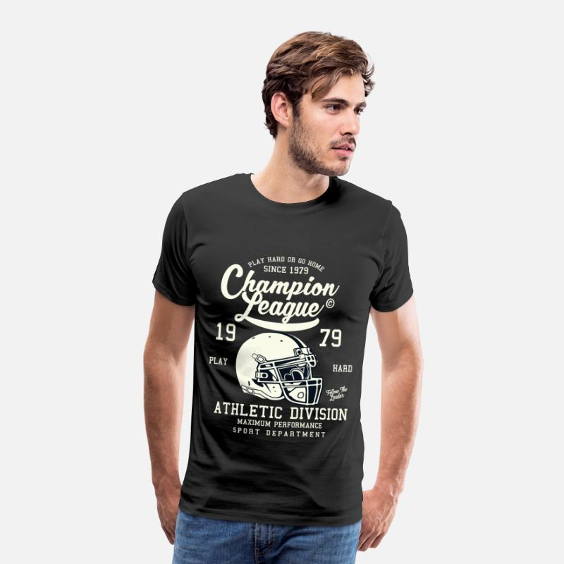 Sportivo Magliette - CHAMPION LEAGUE - Football americano Shirt Design - Maglietta premium uomo nero