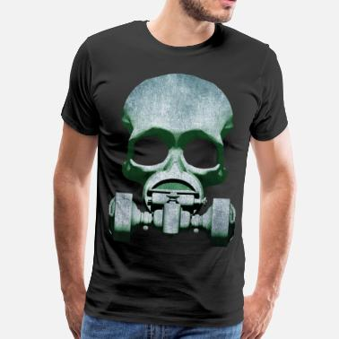 Poppycock And Cheapskate Steampunk Skull Gas Mask T-Shirts - Men's Premium T-Shirt