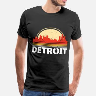 Detroit Klassisk Retro Detroit City Skyline Vintage Shirt - Herre premium T-shirt