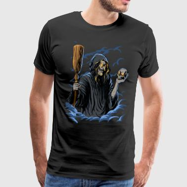 Scary Witch with Skull and Broom - Men's Premium T-Shirt