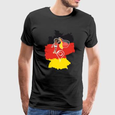 Germany Map, German Flag and Locator - Men's Premium T-Shirt