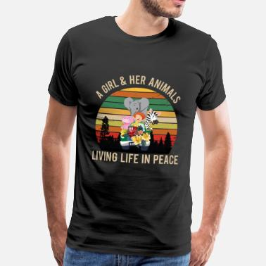 Flower A girl and her animals live in peace - Men's Premium T-Shirt