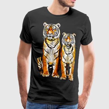 Tiger Stripes gxp tiger couple couple vector art - Men's Premium T-Shirt