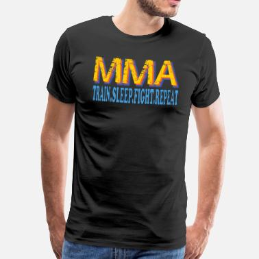 Mma MMA Train Sovekamp Repeat - Premium T-skjorte for menn