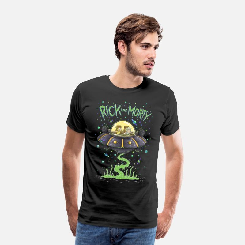 Cool T-Shirts - Rick And Morty Spaceship Illustration - Men's Premium T-Shirt black