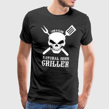Natural Born Grilling, BBQ, Grill, Chef - Men's Premium T-Shirt