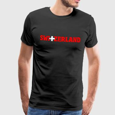 Switzerland lettering with cross red-white - Men's Premium T-Shirt