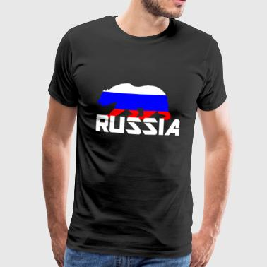 Russia bear coat of arms flag - Men's Premium T-Shirt