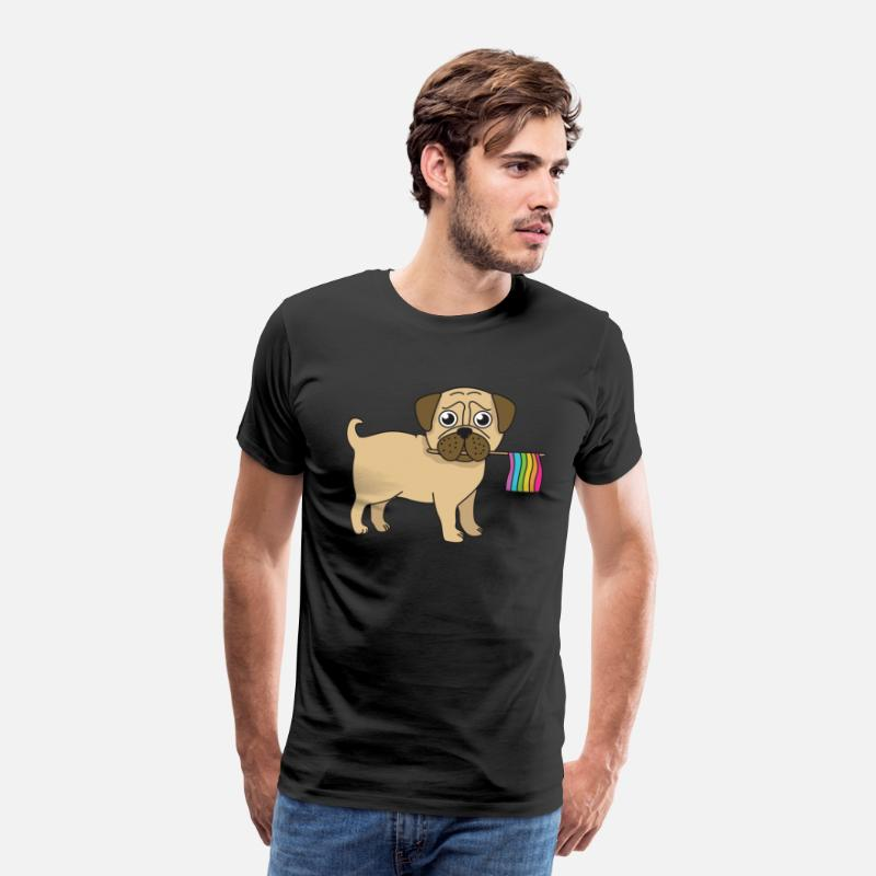 Gay T-Shirts - Pug Gifts Gay Pride Flag LGBT Equality Shirt Love Pug TShirt - Men's Premium T-Shirt black