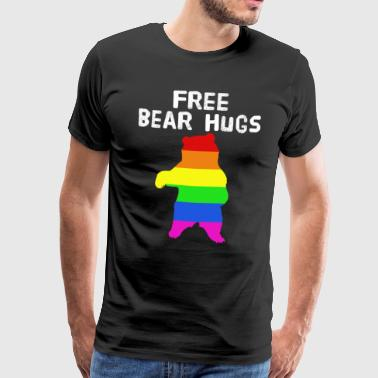 Free Thinker Lovely & Cute Tshirt Design Free Bear Hugs - Men's Premium T-Shirt