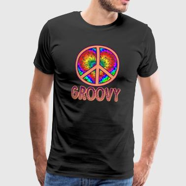 Disco Groovy Peace Sign Gift - Premium-T-shirt herr